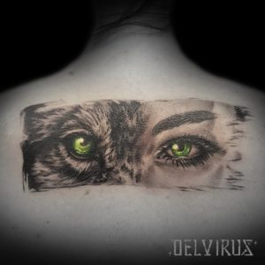 realistic wolf and human eyes tattoo