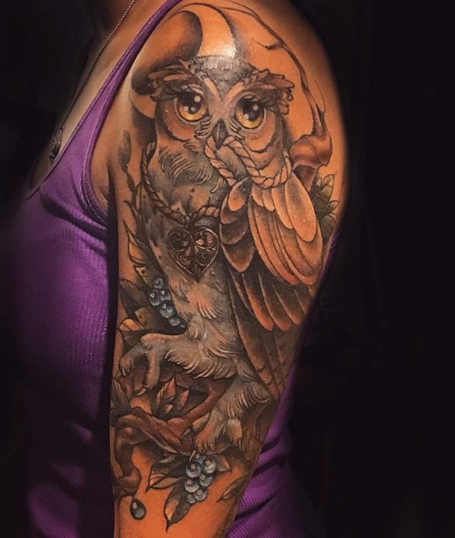 Neotraditional Owl By Rachelmillertattoos Body Art Soul Tattoos Tattoo Piercing Apprenticeships
